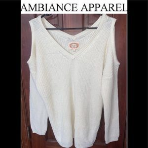 Ambiance Apparel Cold Shoulder Sweater